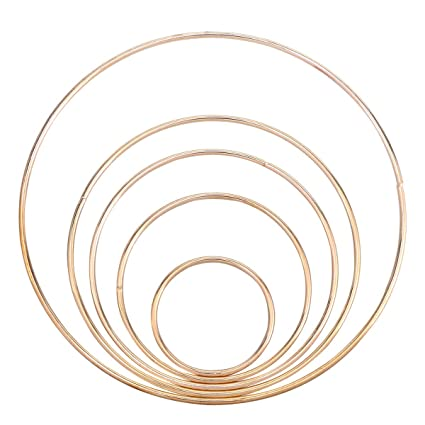 Rosenice 5pcs Metal Dreamcatcher Rings Hoops Craft Metal Hoops Macrame Rings For Dream Catcher Diy Craft Gold 50mm 80mm 100mm 120mm And 160mm