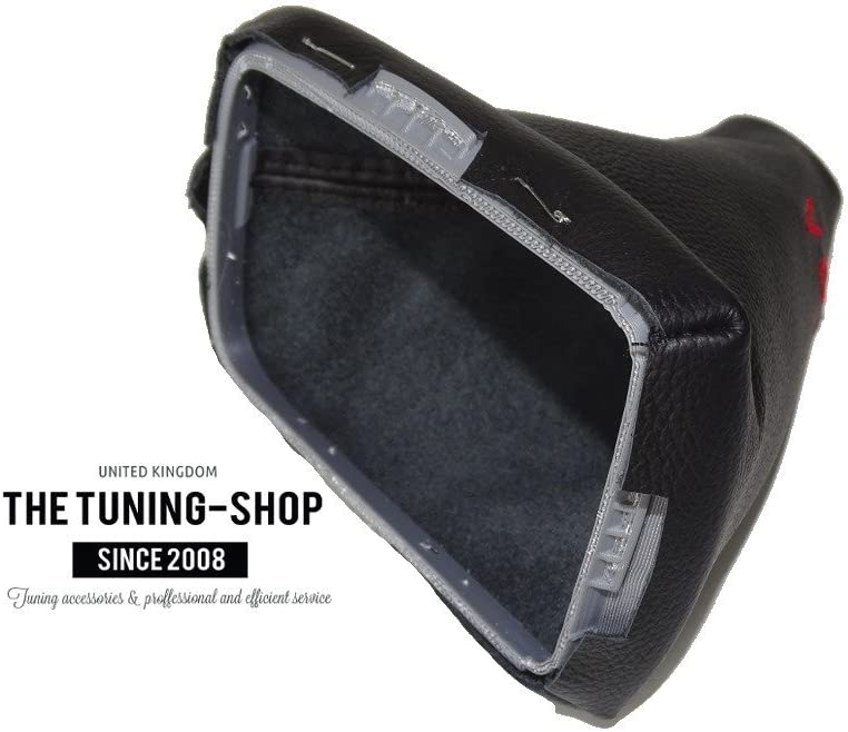 The Tuning-Shop Ltd for Volvo V50 2004-12 Shift Boot with Plastic Frame Black Leather Red Stitching