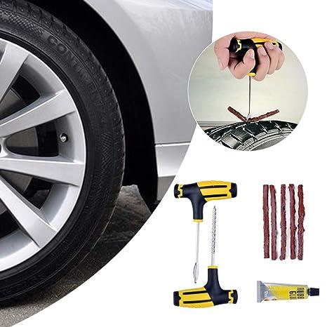 yiyao 1 Juego de Herramientas de reparación de neumáticos de Rueda Kit de reparación de pinchazos para Auto Motocicleta camión neumático sin cámara: ...