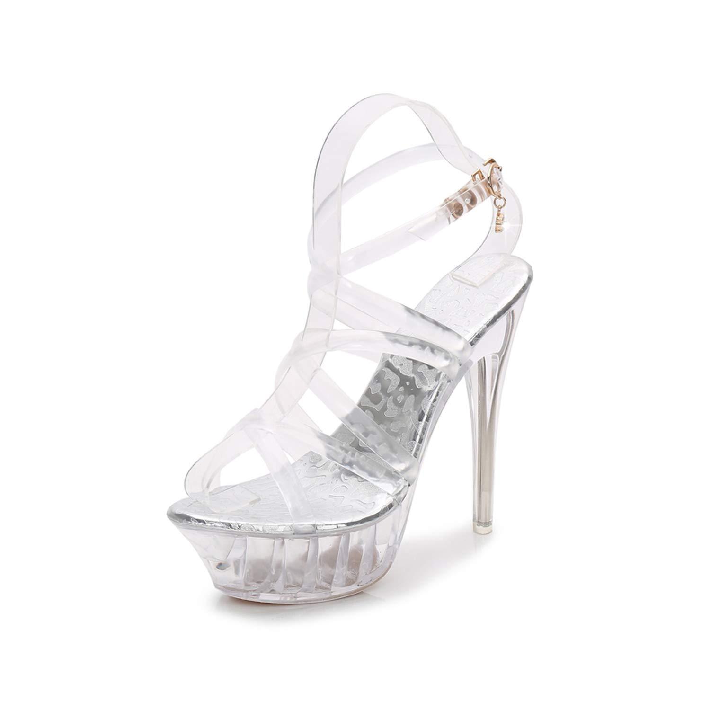 - YEIZD Plus Size 35-43 PVC shoes Woman 14cm Thin High Heel Open Toe Platforms Transparent Sandals,Clear,39