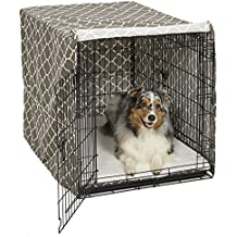 Midwest Homes for Pets CVR42T-BR Dog Crate Cover with Fabric Protector, Large, Brown Geometric Pattern