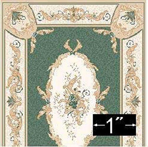 (Brodnax Prints Dollhouse Miniature Rug 1:24 Scale Aubusson Green)