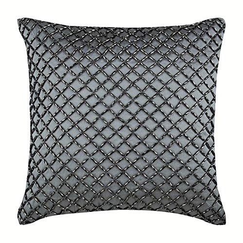 - Decorative Pillow Covers 16 x 16 inch Grey, Silk Throw Pillow Covers, Handmade Pillow Covers, Geometric Throw Pillow Covers, Modern Decorative Pillow Covers - Silver Checkered