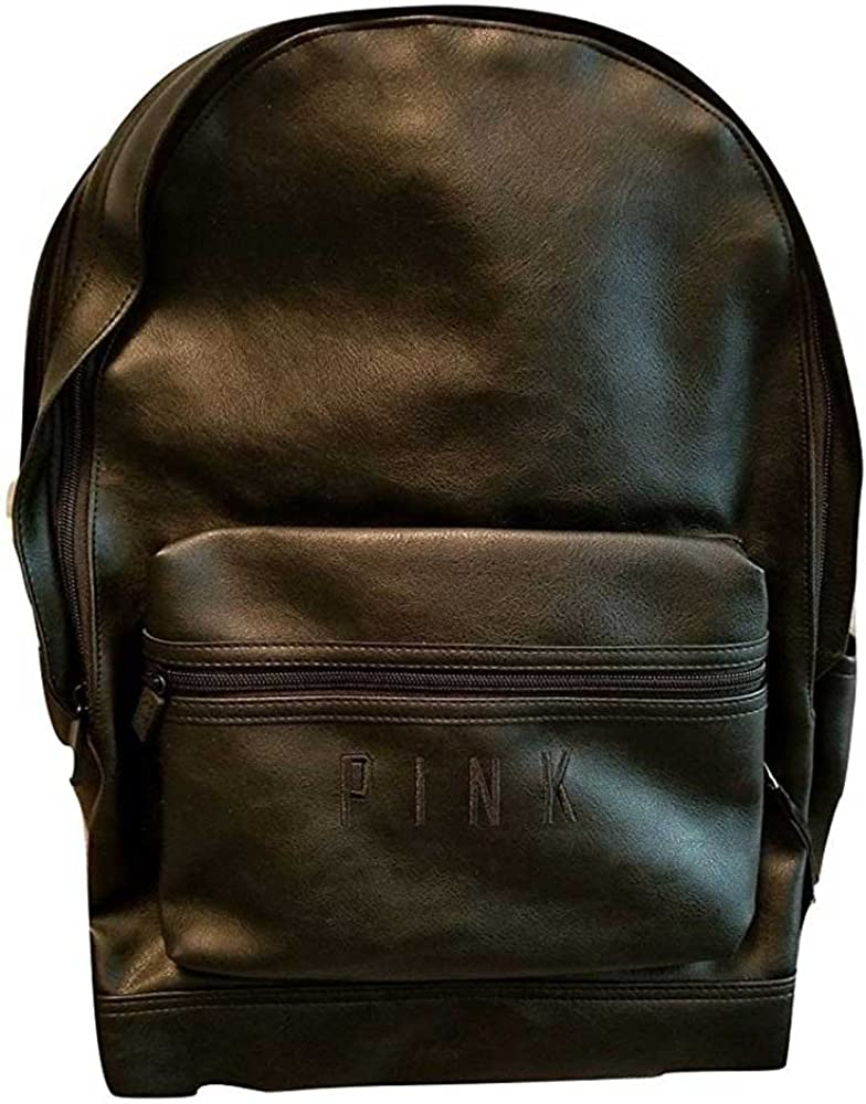 Victorias Secret Pink Campus Backpack Faux Leather Solid Black