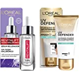 L'Oreal Paris Kit serum facial revitalift acido hialuronico y cuidado diario anti-fotoenvejecimiento anti-brillo fps 50+ l'or