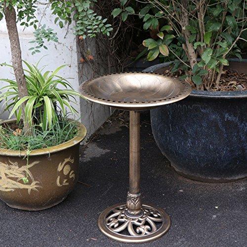 ZENY Bird Bath 28'' H Luxury Outdoor Pedestal Birdbath Bird Feeder Freestanding Garden Decor,Resin (Bronze) by ZENY (Image #1)