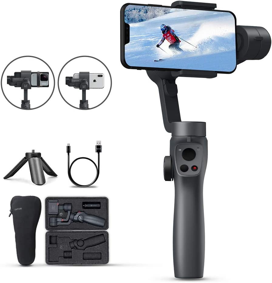 Funsnap Capture 2 3-Axis Gimbal Stabilizer for iPhone/&Android Phones/&GoPro Action Camera,Vlog//Youtuber//Live Video Record with Phone Go Mode,Face Object Tracking Motion Time-Lapse,Stable Anti-Shake.