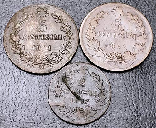 Unbranded LOT of 3X Italy Coins 2 & 5 CENTESIMI 1861 1862 1867