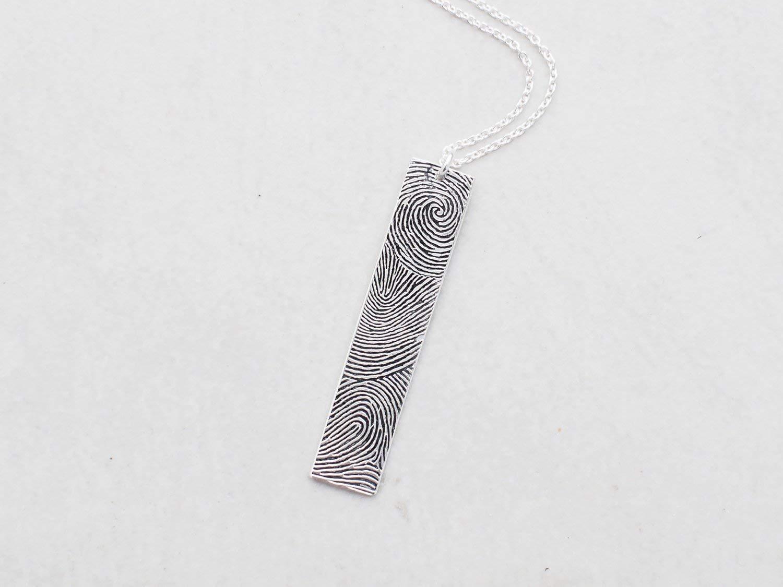 Remembrance necklace Thumbprint necklace Bar Fingerprint Necklace Handwriting Necklace Memorial Necklace Signature necklace