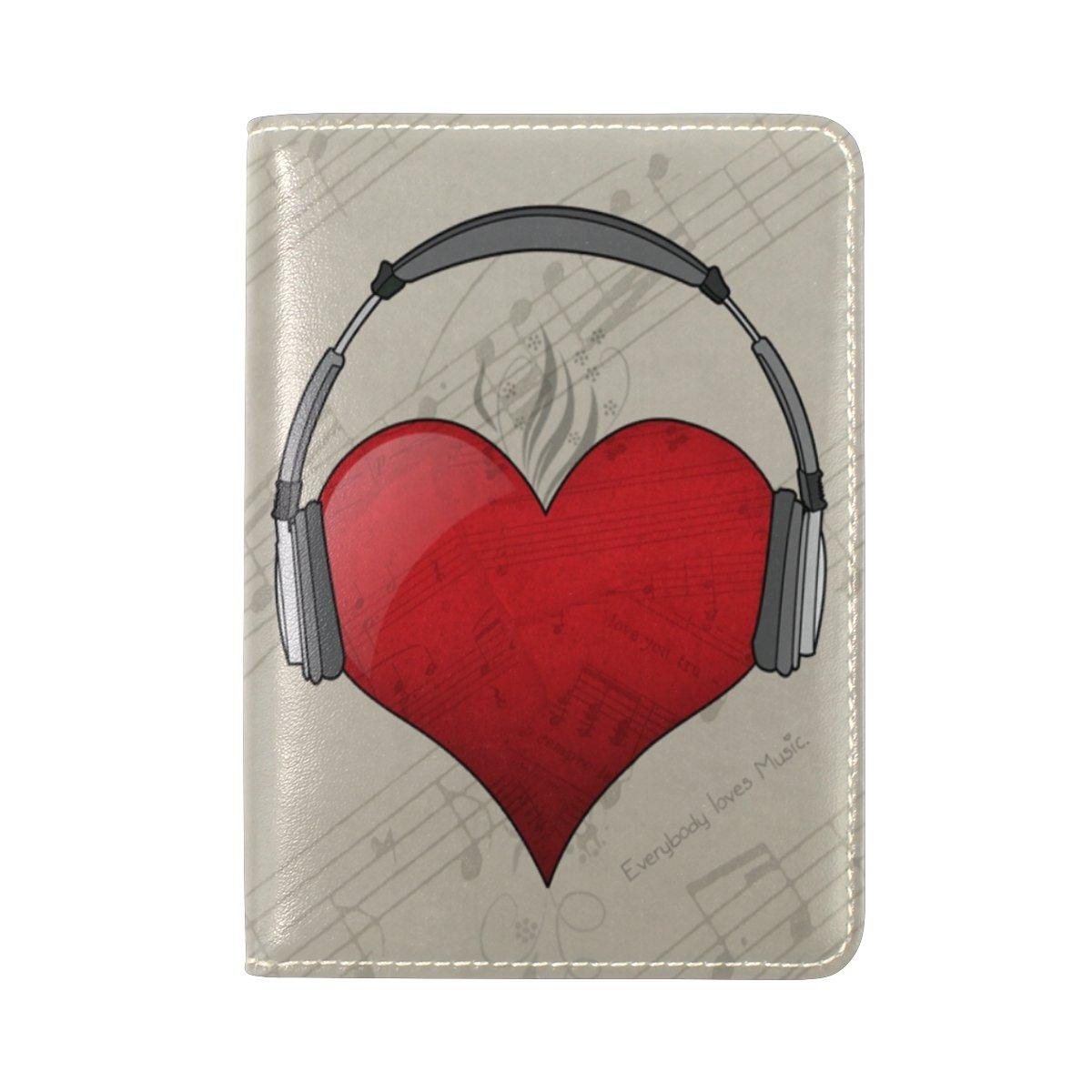 FENNEN Music Heart Genuine Real Leather Passport Holder Cover Travel Case