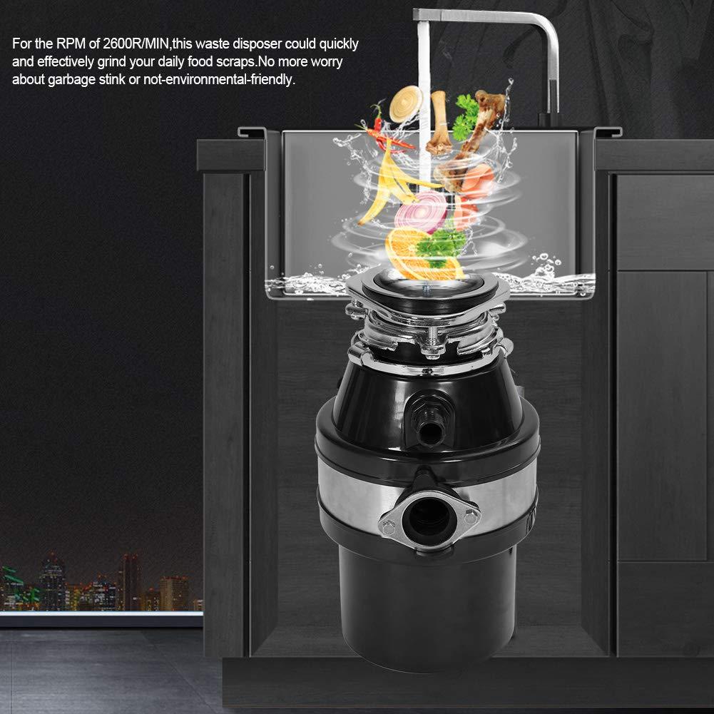 1HP 2600 RPM M/üllentsorger K/üchenabfallentsorger Continuous Feed Lebensmittelverschwendung Haushalts K/üche Entsorgung Abfallentsorger