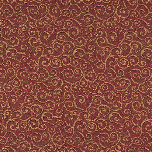 Pomegranate Red and Gold Abstract Scroll or Swirl Pattern Damask Upholstery Fabric by the yard