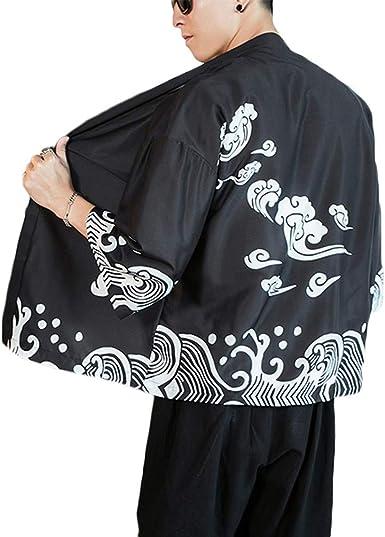 GUOCU Hombre Mujer Camisa Kimono Estilo Japonés Estampado Holgado Cloak Cardigan Casual Chaqueta: Amazon.es: Ropa y accesorios