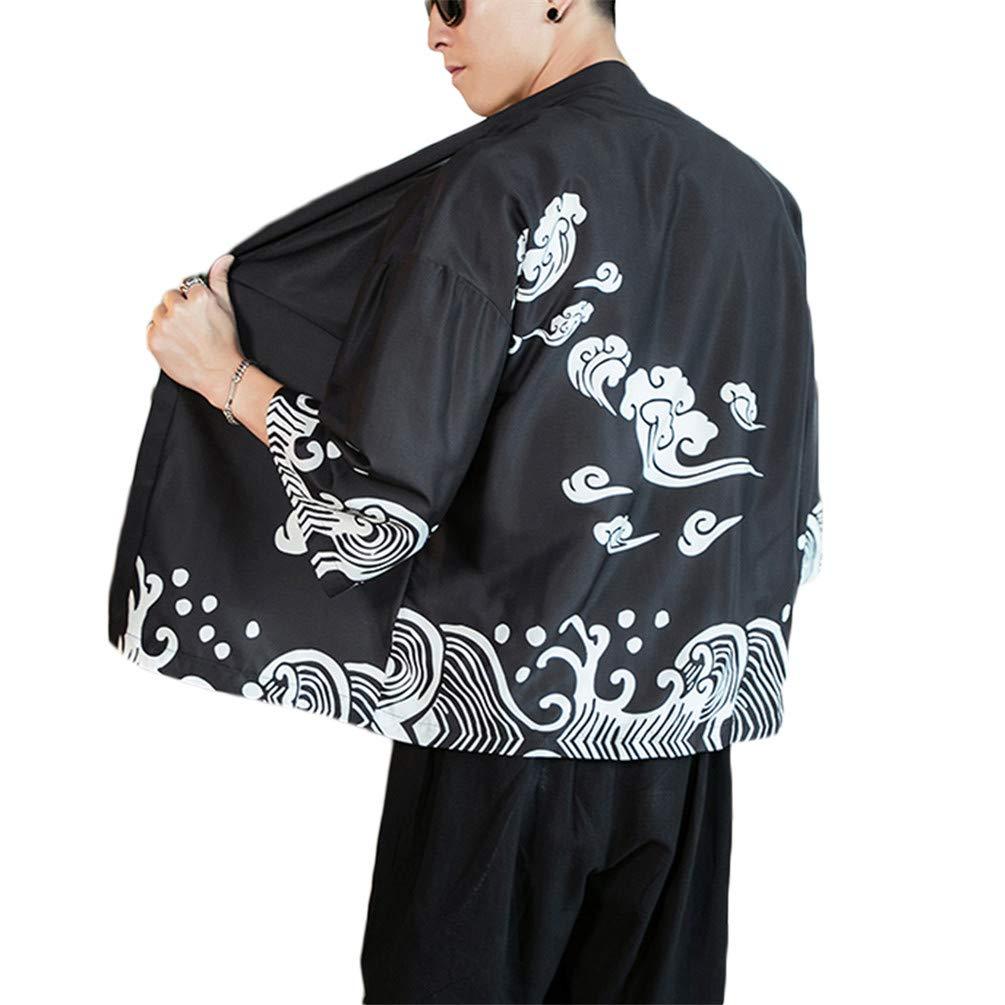 GUOCU Hombre Mujer Camisa Kimono Estilo Japon/és Estampado Holgado Cloak Cardigan Casual Chaqueta