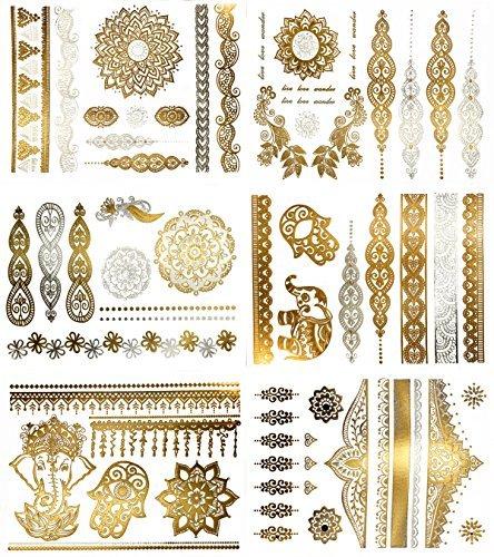 Temporary Boho Metallic Henna Tattoos - Over 75 Mandala Mehndi Designs in Gold and Silver (6 Sheets) Terra Tattoos Jasmine (Pocahontas Halloween Costume Diy)