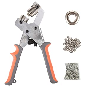 BIZOEPRO Handheld Grommets 3/8 Inch (10mm) Punching Machine Manual Hole Punch Pliers Grommet Setting Kit Machine Portable Hand Press Tool W/with 500pcs Silver 10mm Grommets Eyelets Tarps Banner