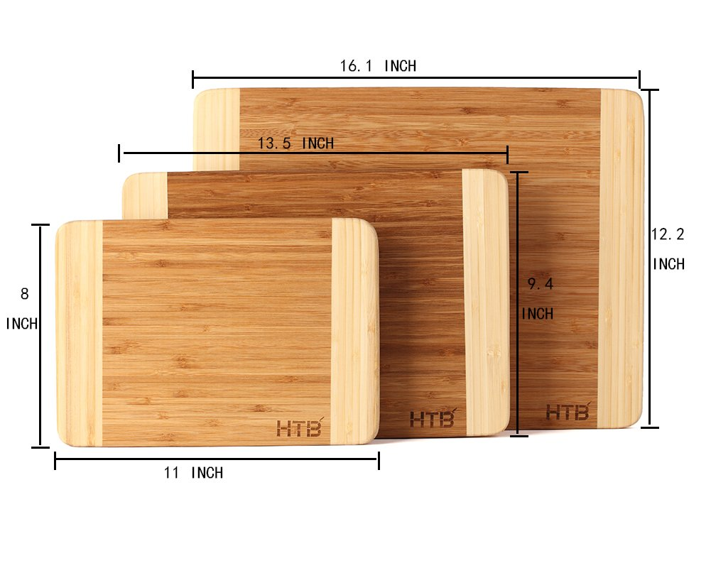HTB 100% Bamboo Cutting Board,Thick Bamboo For Food Prep, Making Cocktails or Serving Appetizers 03L by HTB (Image #2)