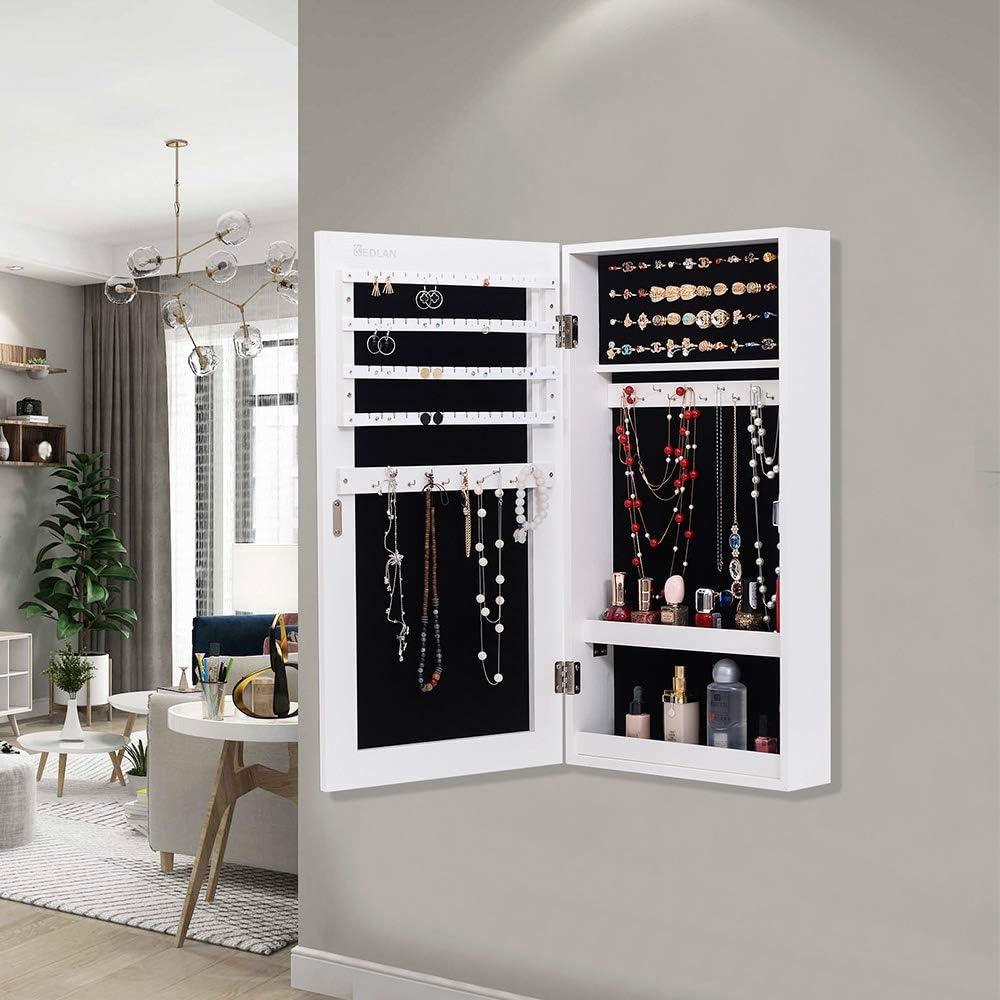 KEDLAN Jewelry Cabinet Wall Hanging Door Mounted Mirrored Space