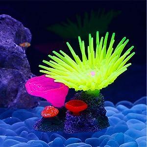 Danmu 1Pc of Polyresin and Silicone Coral Ornaments, Aquarium Coral Decor for Fish Tank Aquarium Decoration 5 1/10