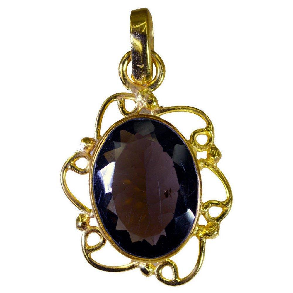 Genuine Smoky Quartz Crystal Gold Plated Pendant Astrological For Women Handmade Design Necklace Beads
