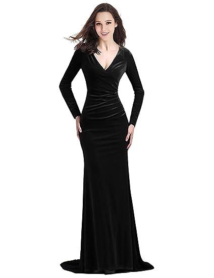 Yirenwansha Noble Velvet Evening Dress Long Sleeve 2018 V Neck
