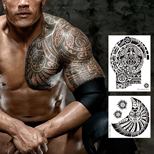 Leoars 2 Sheets Extra Large Temporary Tattoo Similar The Rock Arm Chest Big Totem Body Tattoos Sticker for Men Women Make Up Waterproof Fake Tattoo (Best Tribal Shoulder Tattoos)