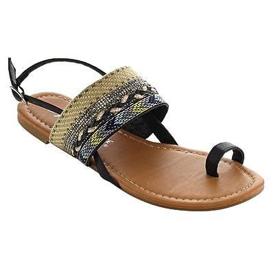 8b1ae7fa7824 WestCoast Women s Toe Ring Ankle Strap Slingback Boho Flat Sandals Black 5.5