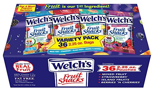 Welch's Variety Pack Fruit Snacks, 2.25 Ounce (36 Count) (Sour Fruit Roll Up)