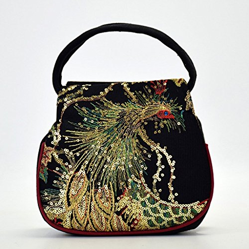 JAGENIE Small Blue Ethnic Peacock Bag Embroidery Canvas Case Pouch Retro Black Women Phone Handbag rx70SqawrU