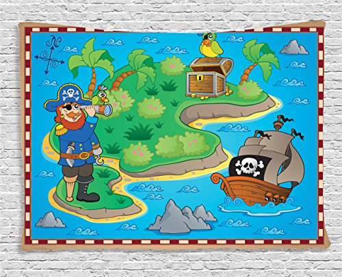Ambesonne Kids Tapestry Island Map Decor, Cartoon Pirate and Treasure with Ship and Parrot Fun Play Art Party Theme, Wall Hanging for Bedroom Boys Girls Children Dorm, 60 W X 40 L Inch, Blue Green Treasure Map Personalized