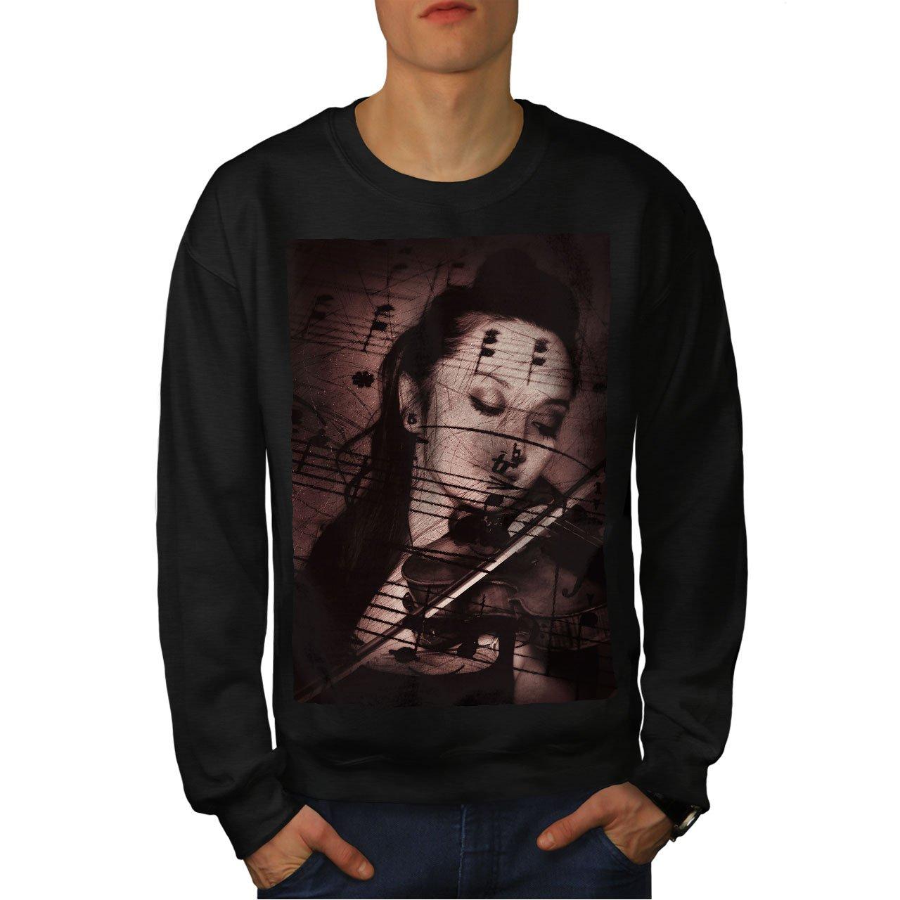 Classic Casual Jumper wellcoda Notes Violn Girl Mens Sweatshirt