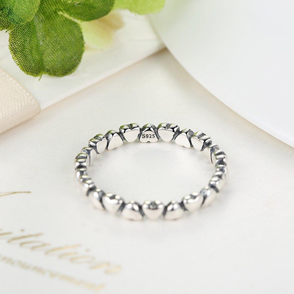 BAMOER 925 Sterling Silver Endless Love Heart Stacking Ring for Women Teen Girls Birthday Anniversary Gift Size 6-9 (7) by BAMOER (Image #4)