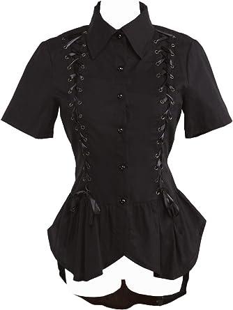 an*tai*na* Negra Algodón Volantes Encaje Retro Gotica Punk Lolita Camisa Blusa de Mujer: Amazon.es: Ropa y accesorios