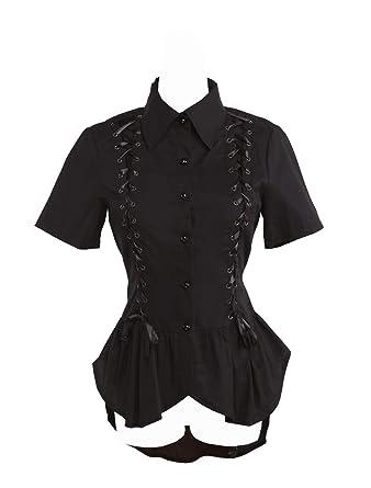 61d6f89cd98444 Antaina Black Cotton Ruffle Lace Retro Gothic Punk Lolita Shirt Blouse,XS