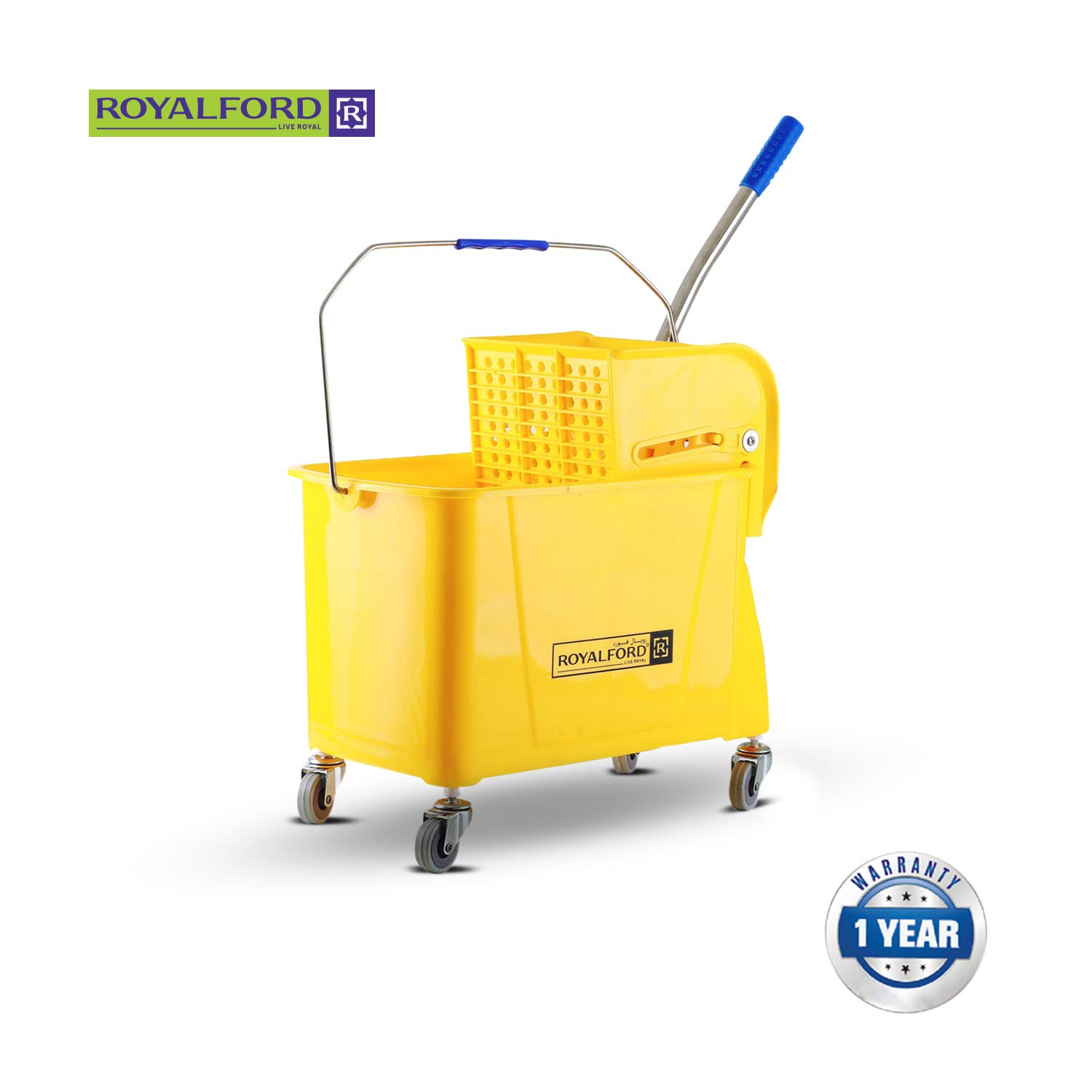 Royalford Yellow 24L Cleaning Mop Bucket with Wringer and Heavy Duty Wheels, Durable Broom and Dustpan Set, Essential Cleaning Products