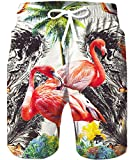 TUONROAD Men's Summer Holiday Aloha Beach Shorts Black Water Green Coconut Tree White Hwaiian Bathing Suit Shorts Tropical Beach Casual Style Board