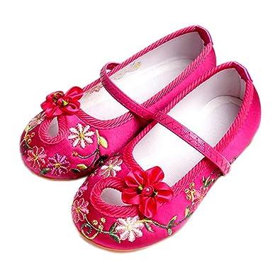 fa70ae7e38b75 Vokamara Fille Chinois Fleur Broderie Chaussures Traditionnelles Ballerina  Flat  Amazon.fr  Chaussures et Sacs