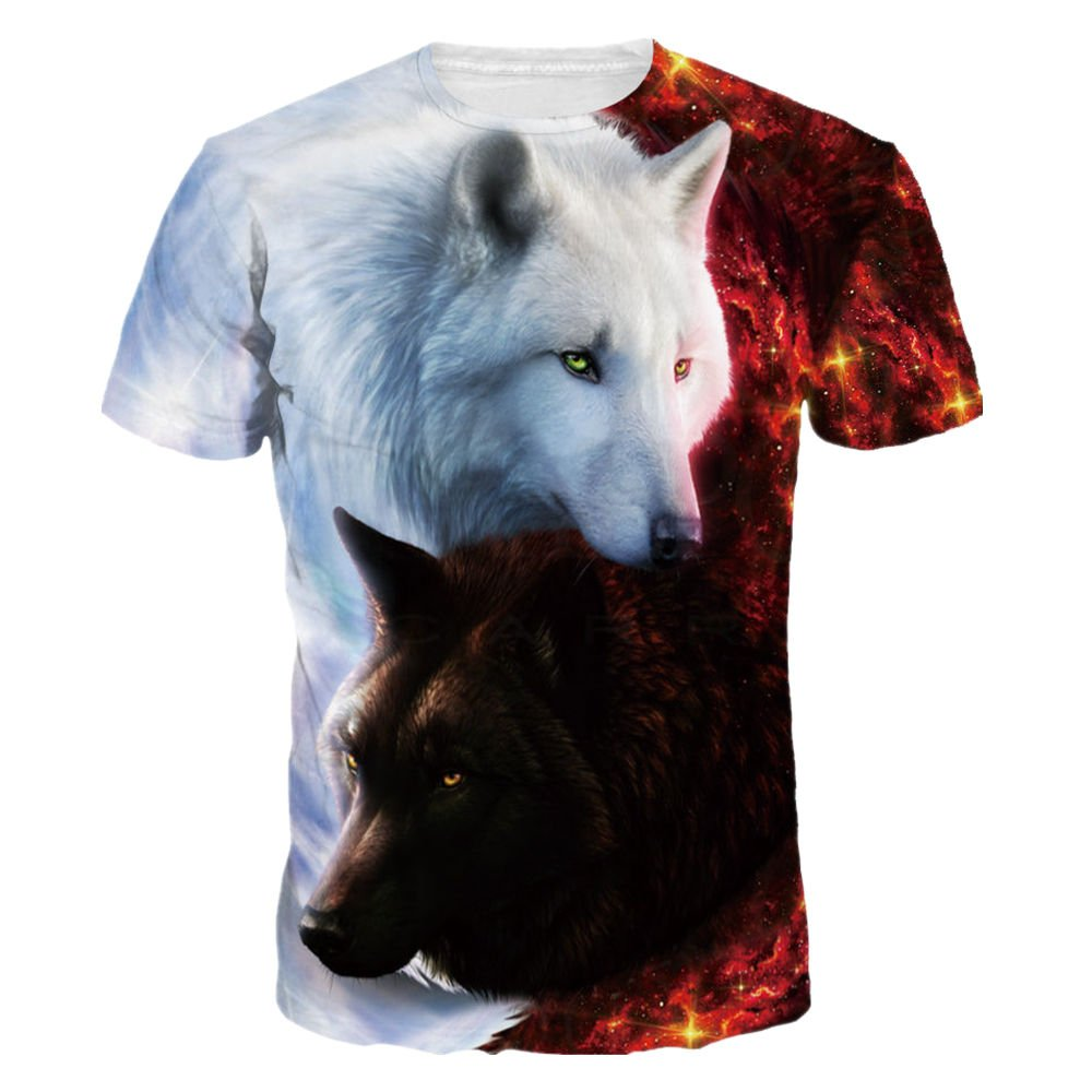 Mclochy Unisex 3D Wolf T Shirts Couples Summer Short Sleeve T-Shirts Casual Tees (Asian L = US M, Taichi Wolf)