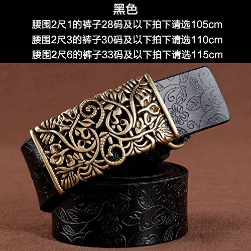 ZHANGYONG Women Belt Embossing Leather Embossed Wild Leather Belt Female Wide Modern Decor with, Black,105cm Jeans - Modern Embossed Belt