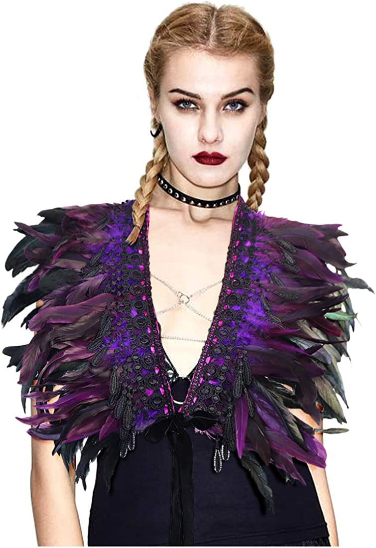 LVOW Gothic Real Black Feather Cape Shawl Choker Collar Shoulder Shrug Wings