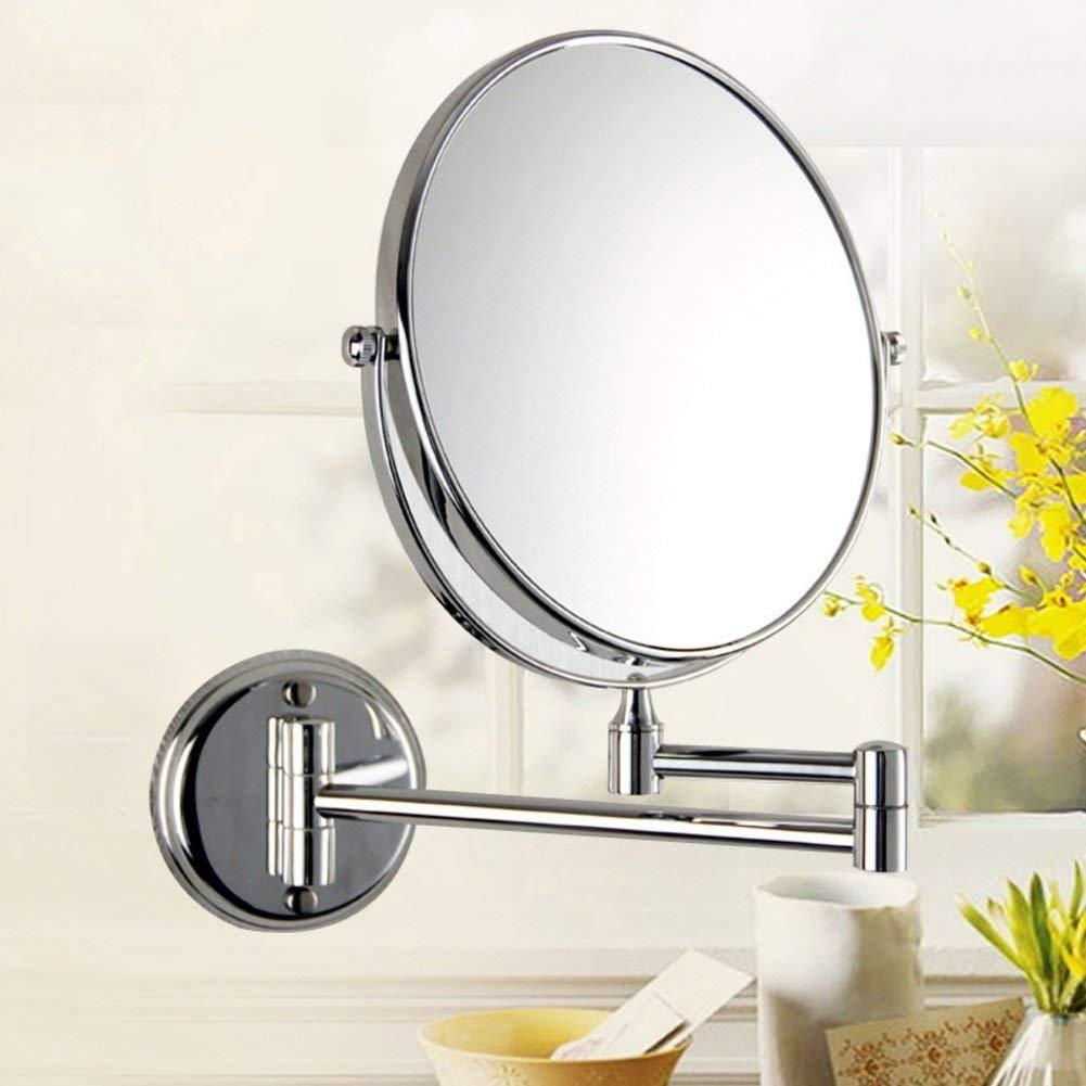 NAERFB Espejo de Maquillaje Extensible, bañ o Espejo Plegable Espejo Doble Cara Espejo telescó pico montado en la Pared una Lupa de lató n baño Espejo Plegable Espejo Doble Cara Espejo telescópico montado en la Pared una Lupa de latón