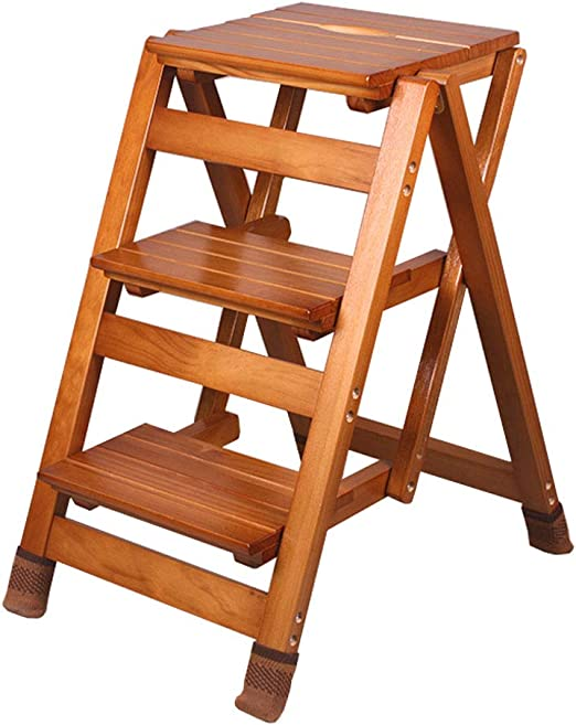 Plegables pasos de escalera Taburete de paso resistente Plegable Escalera de madera de 3 pasos Silla portátil Escalera para el hogar Escalera de tijera Escalera ampliada, con tapete antideslizante,: Amazon.es: Hogar