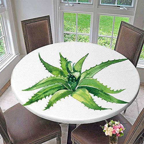 PINAFORE HOME Round Premium Table Cloth Aloe Vera Perfect for Indoor, Outdoor 59