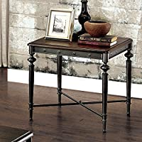 Furniture of America Grimwell Industrial Plank Style Dark Grey End Table