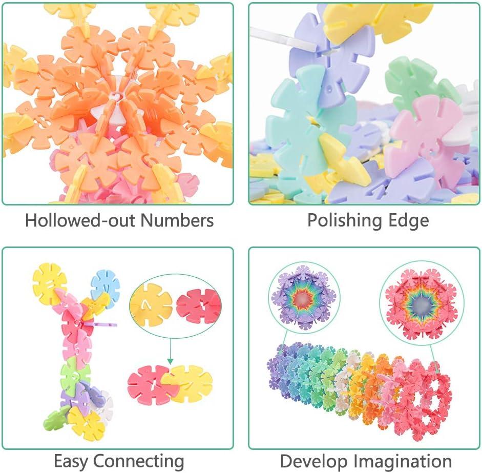 500 Piece Hollow Digital Snowflakes Plastic Building Blocks STEM Construction Toy for 3-5 Kids