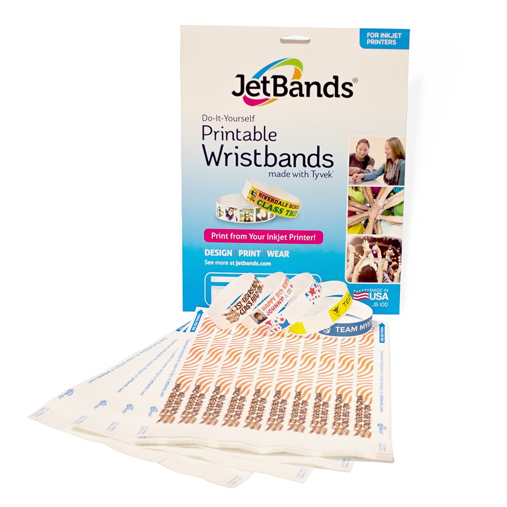 graphic about Printable Wristband called JetBands Do it yourself Inkjet Printable Tyvek Wristbands - 100 Depend