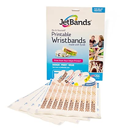 graphic regarding Printable Wristbands identified as JetBands Do-it-yourself Inkjet Printable Tyvek Wristbands - 100 Rely