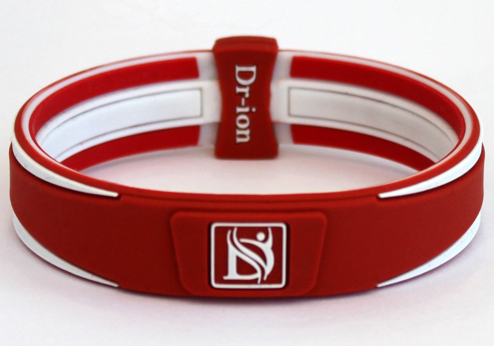 Dr-ion Negative Ion Performance/Power Wristband of Double-Tone Design (Orange Red/White/Red) (M, Orange Red/White/Red) by Dr-ion (Image #1)