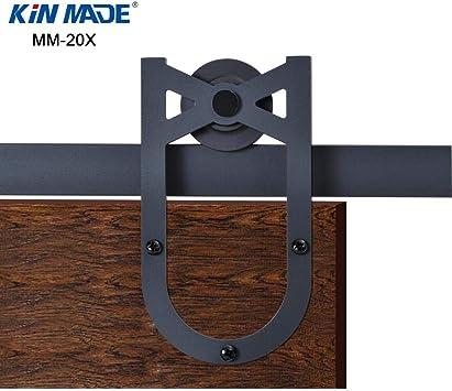 KIN MADE MM-20X - Juego de rieles para puerta corredera de madera con diseño de herradura de 121,92 cm x 241,84 cm: Amazon.es: Bricolaje y herramientas