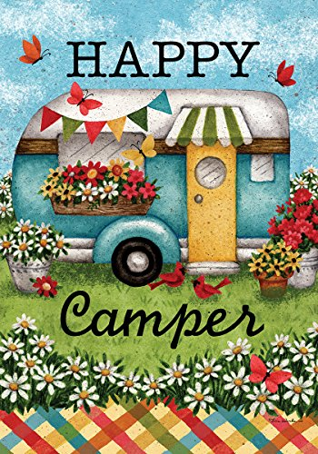 Happy Camper – Standard Size, Decorative Double Sided, Licensed and Copyrighted Flag – Printed IN USA by Custom Decor Inc. 28 Inch X 40 Inch approx.